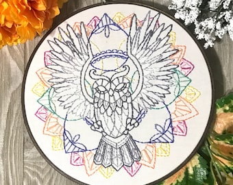 Owl Embroidery Art, Handmade Owl Art Wall Art, Geometric Art, Hand Embroidered Hoop Art