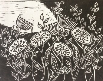 In The Garden' unique linocut design hand pulled Print.       Limited Edition. Numbered 1 of 10.