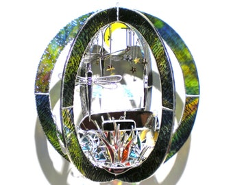 Festival Glamping - Large Stained Glass 3D Sphere - Campfire Airstream Camper Moon Stars Night Home Decor Music Suncatcher (READY TO SHIP)