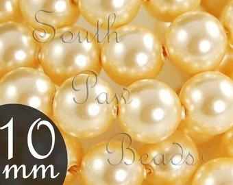 10mm Swarovski crystal pearl beads style 5810, 10mm Gold pearl beads (10)