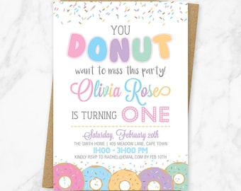 Donut Birthday Invitation, Donut Party Invitation, Donut Sprinkles Invitation, Donut Birthday Party Invite, Printable Donut Invitation