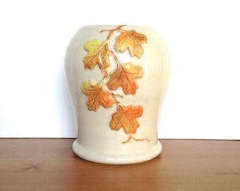 Vintage signed pottery fall leaf design hand thrown vase