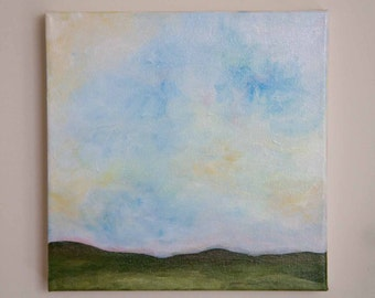 Sky Painting, Horizon Art, Impressionism, blue art, white art, green art, small painting, square canvas painting, 10x10 painting