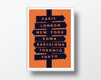 Personalized city signpost travel destinations art print - poster wall art home decor  - custom text and colors - room decor nursery - NG88