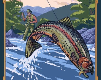 Salmon River, Idaho - Fly Fishing Scene - Lantern Press Artwork (Art Print - Multiple Sizes Available)