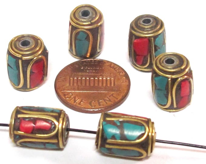 8 Beads - Tibetan brass beads thick cylinder tube shape with turquoise coral inlay from Nepal  - bracelet making beads - BD953