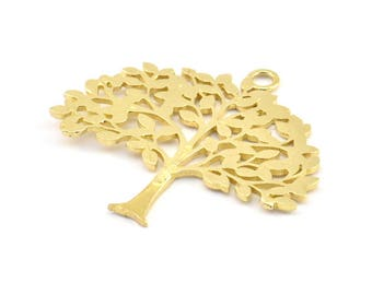 Brass Tree Charm, 2 Raw Brass Tree Charms With 1 Loop, Pendant, Findings (36.5x40x1.2mm) BS 2001