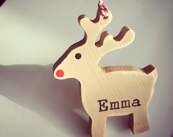 Reindeer Christmas Tree decoration ornament handcut personalised wooden gift