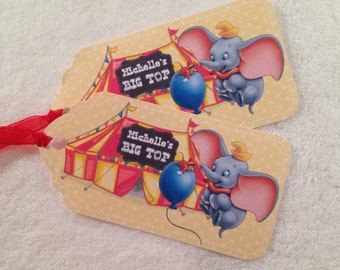 10 - Dumbo Personalized Party Favor Gift Tags Birthday Party Favor Dumbo Party Supplies Dumbo baby shower gift tags Dumbo Party Favor Tags