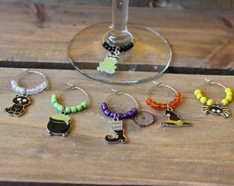 Witches Brew Halloween Theme Wine Charms
