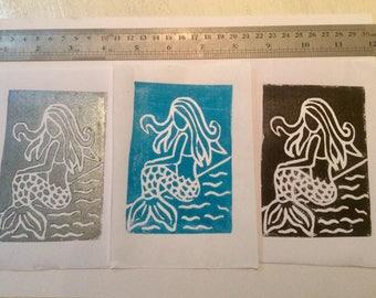 Mermaid Lino print