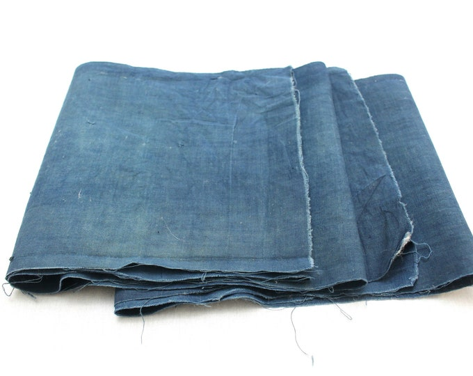 Japanese Indigo Cotton Scraps. Artisan Aizome Boro Textile. Blue Vintage Folk Fabric (Ref: 1768E)
