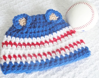 Cubs Hat Hand-crocheted Chicago Cubs Baseball Inspired Blue Red White Beanie with Ears By Distinctly Daisy