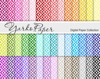 Digital Paper Pack, Geometric Scrapbook Paper, Digital Background, 42 Sheets, Rainbow Paper, Personal And Commercial Use - Instant Download