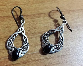 Lovely Celtic Style Sterling Earrings with Onyx