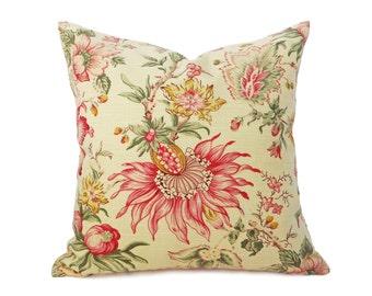 Yellow Pillows, Pillow Covers, Yellow Throw Pillows, Handmade Pillows, Jacobean Pillows, Red Pink Flowers, 12x16, 12x18, 18x18, 20x20, 22x22
