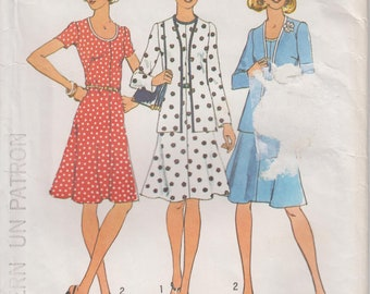 """Vintage Easy To Sew Cardigan and Short Dress 70s Sewing Pattern Lowered Round Neckline A Line  Size 12 Bust 34"""" (86 cm) Simplicity 6749 S"""
