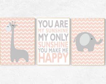 You are my sunshine my only sunshine, Baby girl nursery decor, pink gray nursery decor, pink nursery, elephant nursery, kids room decor