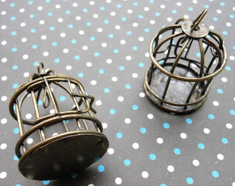4pcs 3D Bird cage Antique Bronze Charm Pendants Size:30mmx40mm jewelry making,jewelry findings