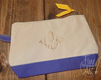 Monogram Canvas Make-Up Cosmetic Bag Clutch Bridal Party Wedding Bridesmaids Teachers Mardi Gras Gift