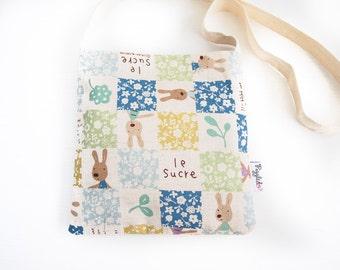 SALE - 30% off - Child's Shoulder Bag - Patchwork Rabbit (Blue)