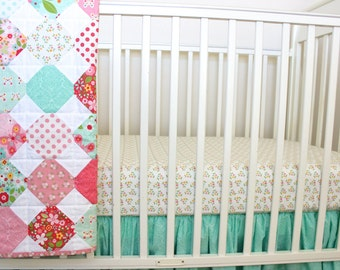 Floral Crib Bedding/ Pink and Mint Set/ Butterfly Crib Set/ Floral Nursery/ Ruffle Crib Skirt/ Floral Crib Sheet/ Garden Crib Bedding