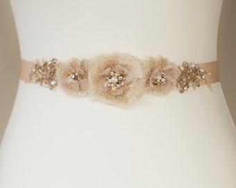 Bridal belt, Floral belts sashes, wedding dress belt sash, Rose Gold waist sash belt, Lace belt sash, Floral bridal sash belt, bridal sash
