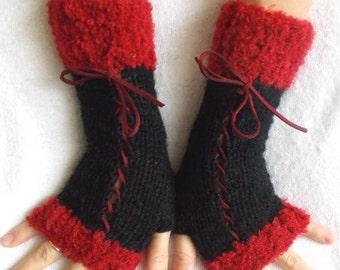 Knit Black Fingerless Corset Gloves Women Wrist  Warmers Red