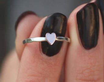 Pink Heart Ring, Copper Heart Ring, Sterling Silver, Heart Stack Ring, Stack Ring, LOVE, Midi Ring, Bridesmaid Ring, Custom Ring