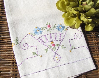 Embroidered Kitchen Tea Towel French Knot Linen Embroidery Pink Purple Blue & Yellow Vintage - #3733N