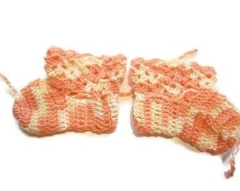 "Baby Booties Baby Booties  Baby Shoes Crochet Booties 3 "" Variegated Orange Newborn Shoes OOAK Booties Reborn Baby Doll"