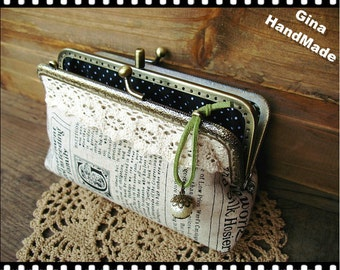 Town Newspaper Two-compartment Coin purse / Coin Wallet / Pouch coin purse / Kiss lock frame purse bag-GinaHandmade