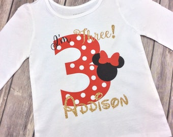 Red, Black and Gold Glitter Minnie Mouse I'm Three Birthday Girl Personalized Shirt, 3 Year Old, Third Birthday, Three Year Old, Polka Dot
