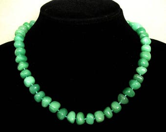 Necklace Green Aventurine 10-12mm Nuggets NSAN3381