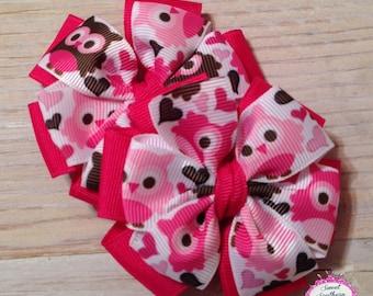 Valentines Owls Bow Set - Pinwheel Bows