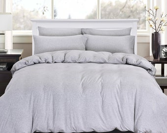 PURE ERA Solid Gray luxurious duvet cover/comforter cover/quilt cover/ doona cover, 100% Cotton Jersey Knit Home Bedding Sets