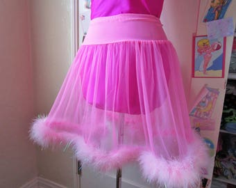 Sheer skirt, hot pink iridescent marabou feather boa retro lingerie fembot fairy kei drag queen size M medium bridal gift