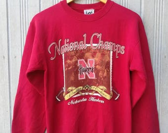 Vintage 90s National Champs Nebraska Huskers College Football Sweatshirt Tag LEE Size S
