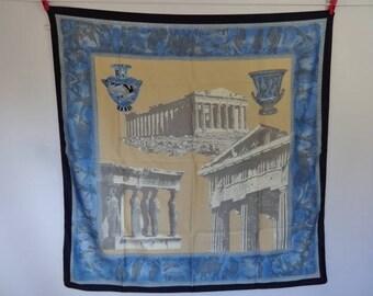 Vintage Souvenir scarf Ancient Greek 88cm x 86cm