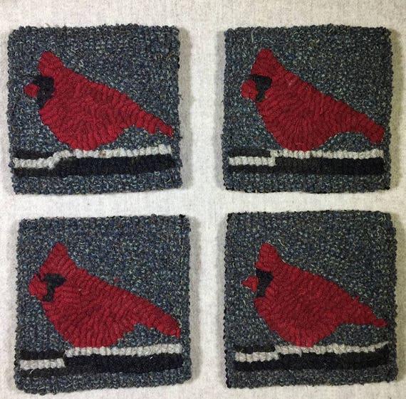 """Rug Hooking Pattern , 4 Cardinal Mug Rugs 5"""" x 5"""", P152"""