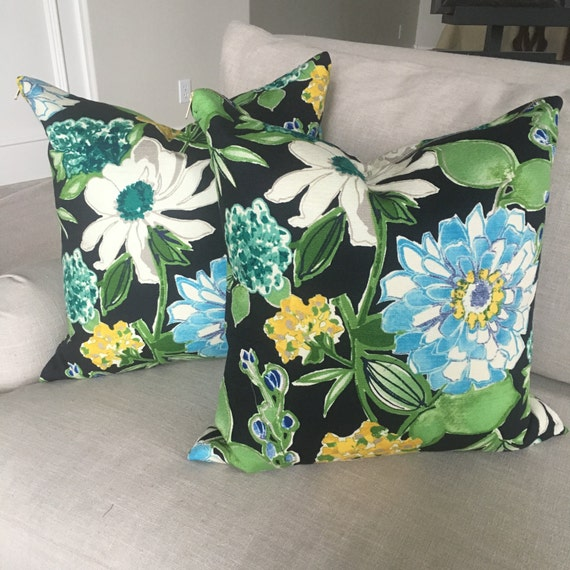 Candance Floral Throw Pillow | Throw Pillow, Pillow, Floral Pillow Cover, Pillow Cover, Navy Pillow, Toss Pillow, Decor, Housewarming Gift