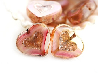 Striped Pink Heart beads, Crystal pink Picasso czech glasscbeads, table cut, glass heart - 14mm - 6Pc - 0456