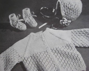 1960's Vintage Knitting PDF Patterns Baby Sweater Booties Bonnet B-689