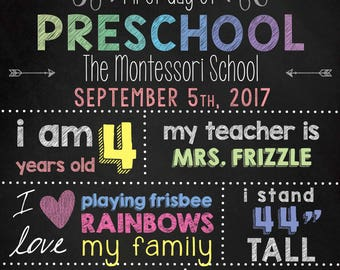 First Day of Preschool Poster/Sign: Editable