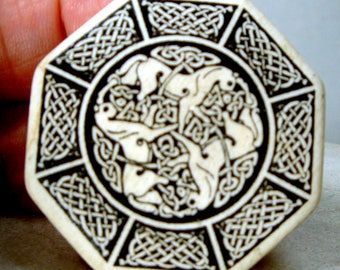 Celtic Porcelain Pin, Early Irish Gaelic Interlace Black Knots Design on Cream Porcelain w 3 Horses, Double Cross Octagon, 1980s,