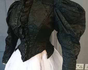 Grand Gothic Gigot Sleeve 1890s Watered Silk Mourning Bodice - Victorian Antique Fashion