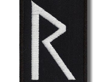 Raido rune - embroidered patch, 8x4 cm