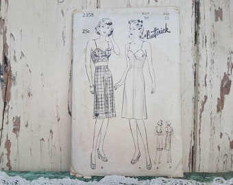 Antique Bra + Slip + Petticoat Pattern By Butterick - Size 20 Sewing Pattern With Instruction, Bust 38, Vintage Underwear, Retro Seamstress
