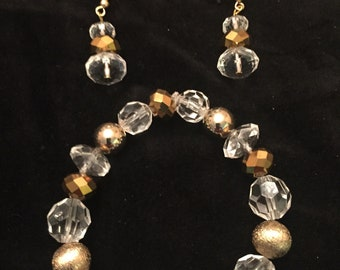 Gold and Crystal Beaded bracelet with matching earrings