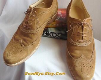 Vintage LV Men's Wingtip Suede Oxford Shoes / size 12  Eu 46 Uk 11 .5 / Louis VUITTON Made Italy / Cognac Tan